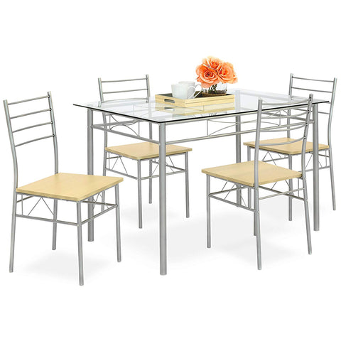 FurniFuture 5-Piece Indoor Modern Metal Finish / Glass Top Metal Frame Dining Table 4-Chair Furniture Set