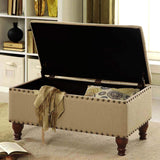 HomePop Linen Storage Bench with Nailhead Trim and Hinged Lid