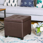 "SONGMICS 15"" x 15"" x 15"" Storage Ottoman Cube with Hinged Lid Footrest Stool Coffee Table"