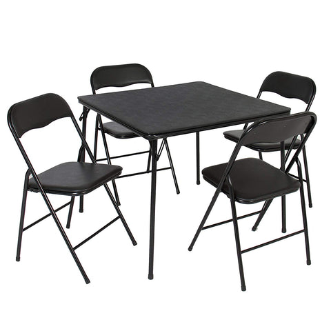 Best Choice Products 5-Piece Home Furniture Multipurpose Dining Set w/Folding Table and Chairs - Black