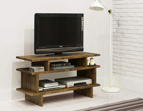eHomeProducts Rustic Amber Reclaimed-Look TV Entertainment Center Console Stand with Shelves