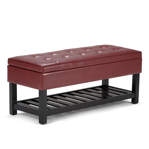 Simpli Home Cosmopolitan Rectangular Entryway Storage Ottoman Bench with Open Bottom