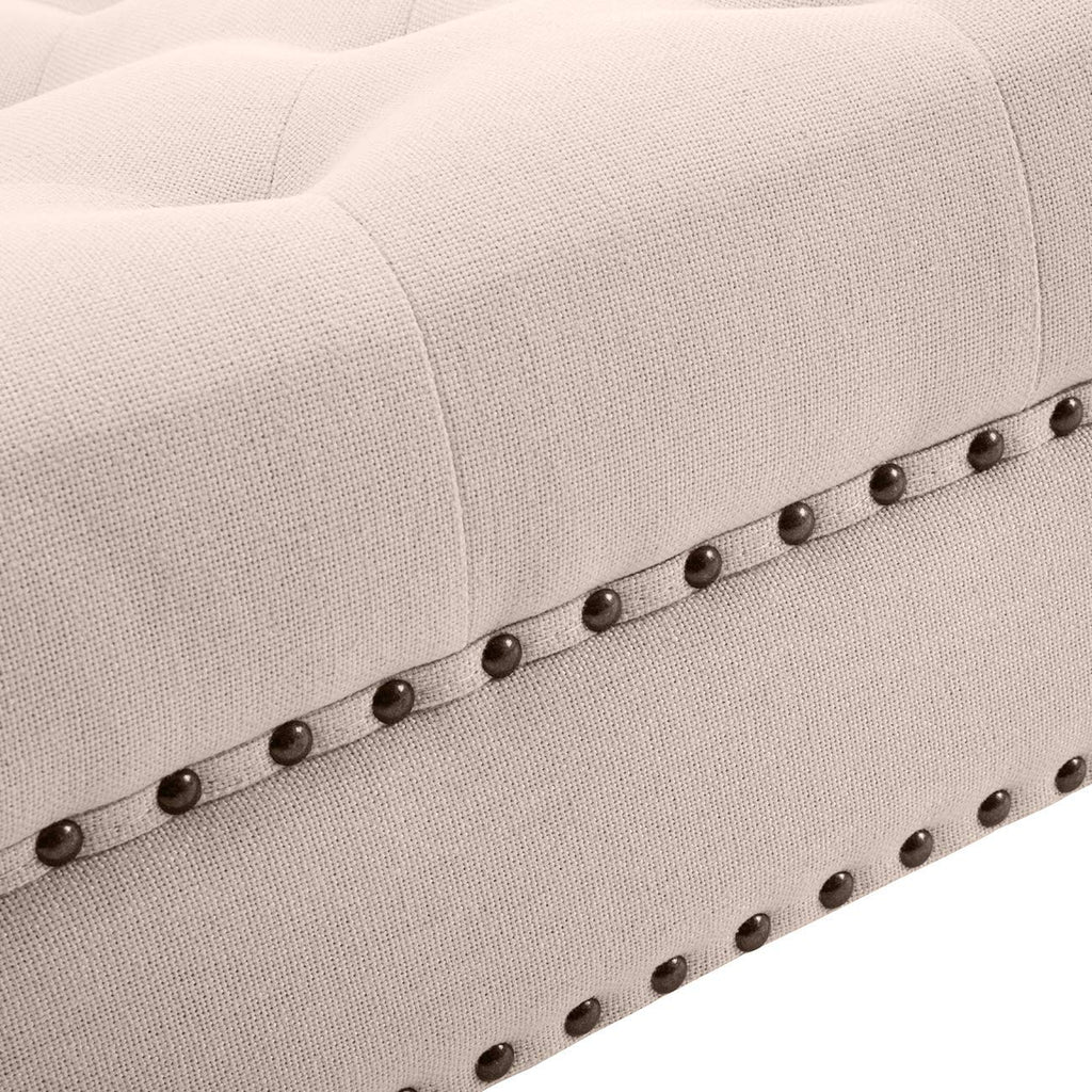 Stupendous Ottoman Large Tufted Button Linen Fabric Benchrolling Wheels Machost Co Dining Chair Design Ideas Machostcouk