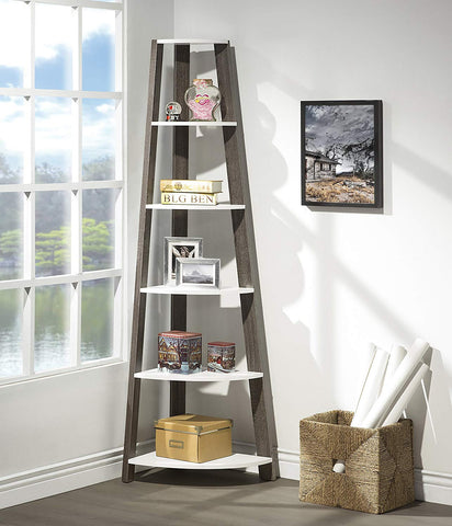 White / Grey Finish Two-Tone Wood Wall Corner 5-Tier Bookshelf Bookcase Accent Etagere