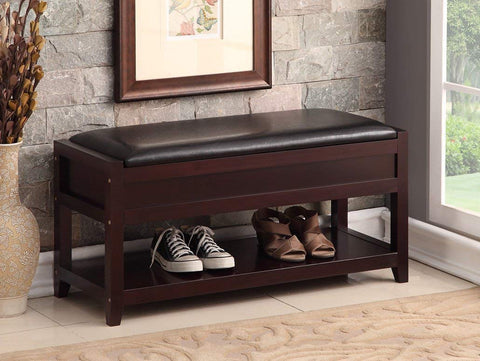 Espresso Bonded Leather Entryway Shoe Bench Shelf Storage Organizer