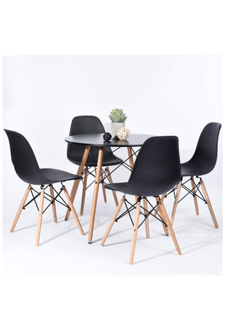 FurniFuture Dining Table Set Coffe Round Table Set (4-Chairs and Table) - Black