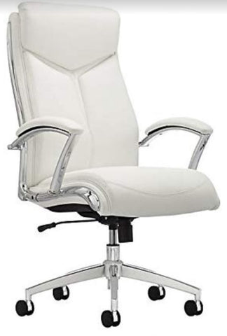 Verismo Bonded Leather High-Back Chair, White/Chrome