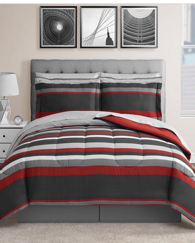 Austin 8-Pc. Reversible Queen 👸/ King 🤴 Size Bedding Ensemble-Red