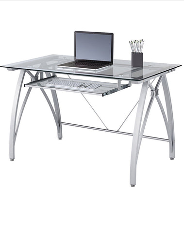 Vista Glass Computer Desk - Silver