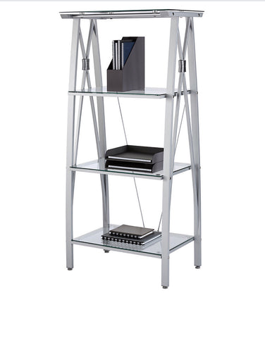 Vista 4-Shelf Glass Bookcase, Clear/Silver
