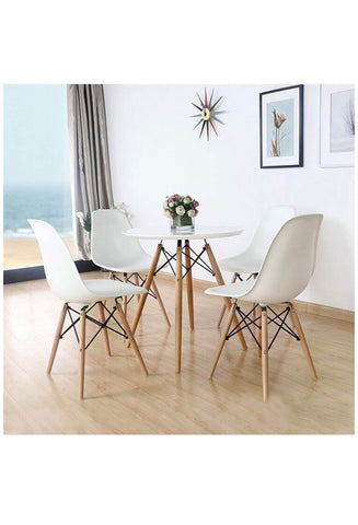 FurniFuture Dining Table Set Coffe Round Table Set (4-Chairs and Table)
