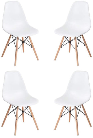 FurniFuture Modern Chair Natural Wood Legs Eiffel for Dining Room Side Chairs, Set of 4 White