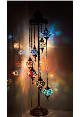 FurniFuture Handmade Turkish  Mosaic Glass Floor Lamp Tiffany Style Lamp Decorative Night Light with 7-Lamp