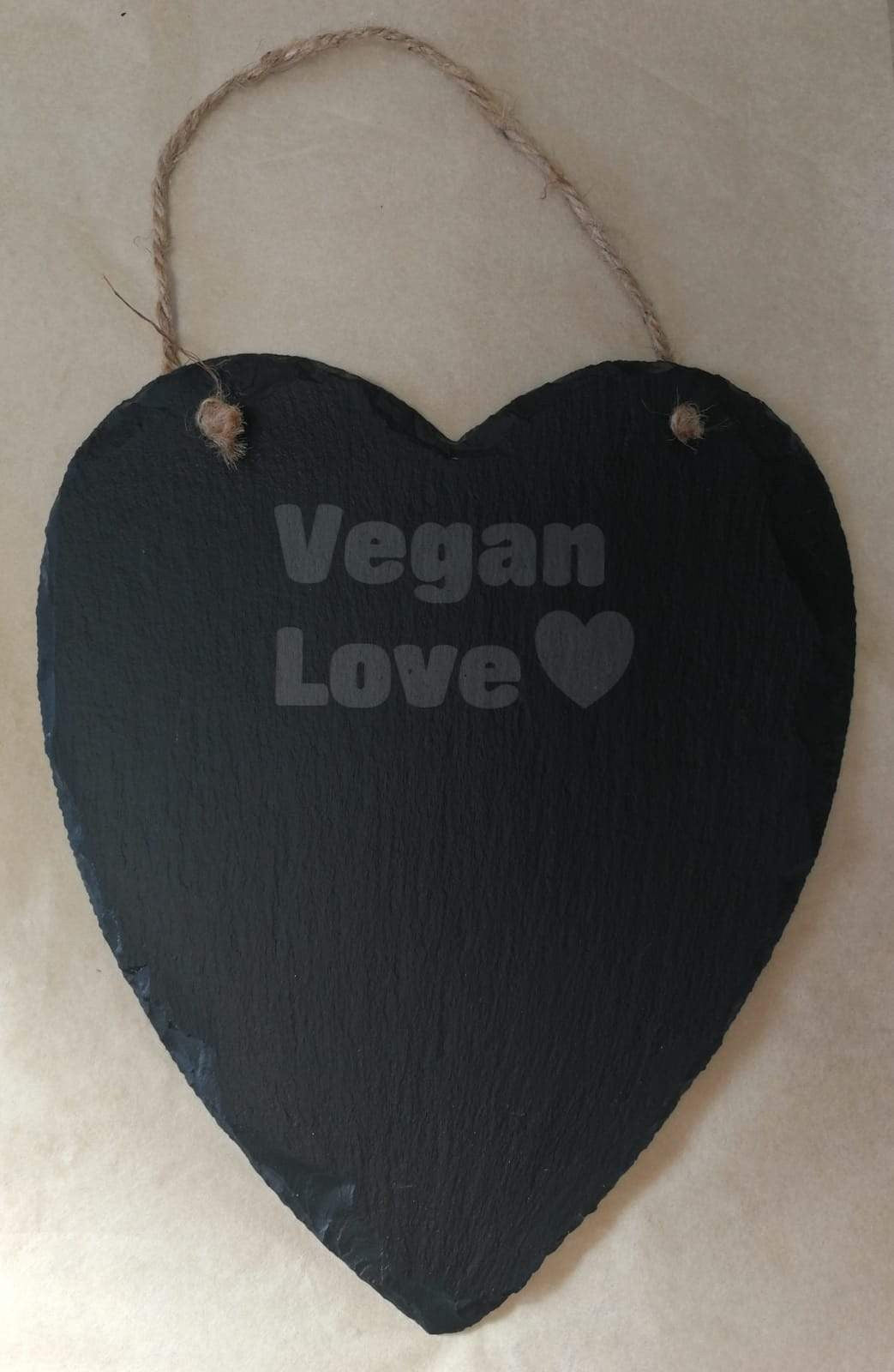 'Vegan Love' Large Natural Heart Slate With Rope | Sustainable Gift | Rawsome