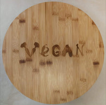 Load image into Gallery viewer, 'Vegan' Lazy Susan Bamboo Rotating Tray | Sustainable Gift | Rawsome
