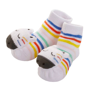 Zebra- Rattle Toe Socks