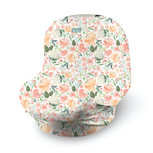 Peach Floral Mom Boss Nursing and Car Seat Cover