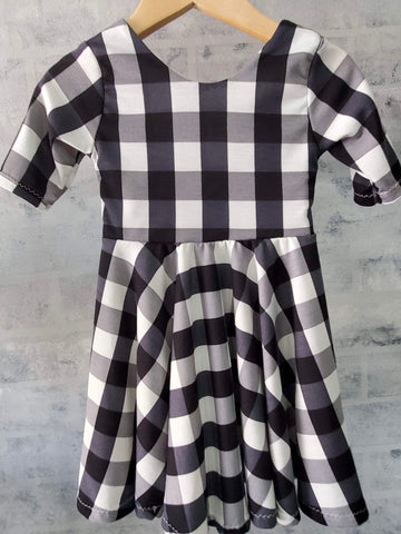 Black & White Checkered 3/4 Sleeve