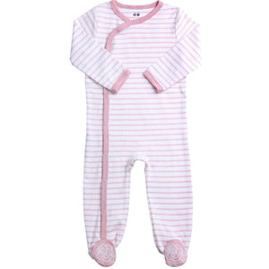 Pink Striped Footie