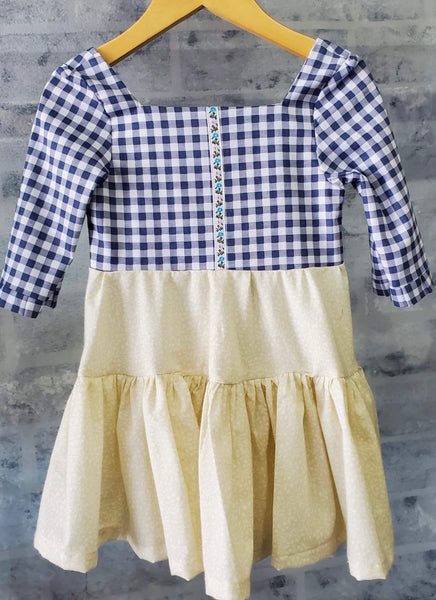 Cream & Blue Checkered