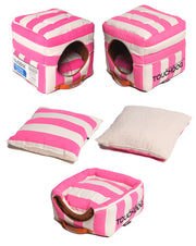 Pink Touchdog Polo-Striped Convertible And Reversible Squared 2-In-1 Collapsible Dog House Bed