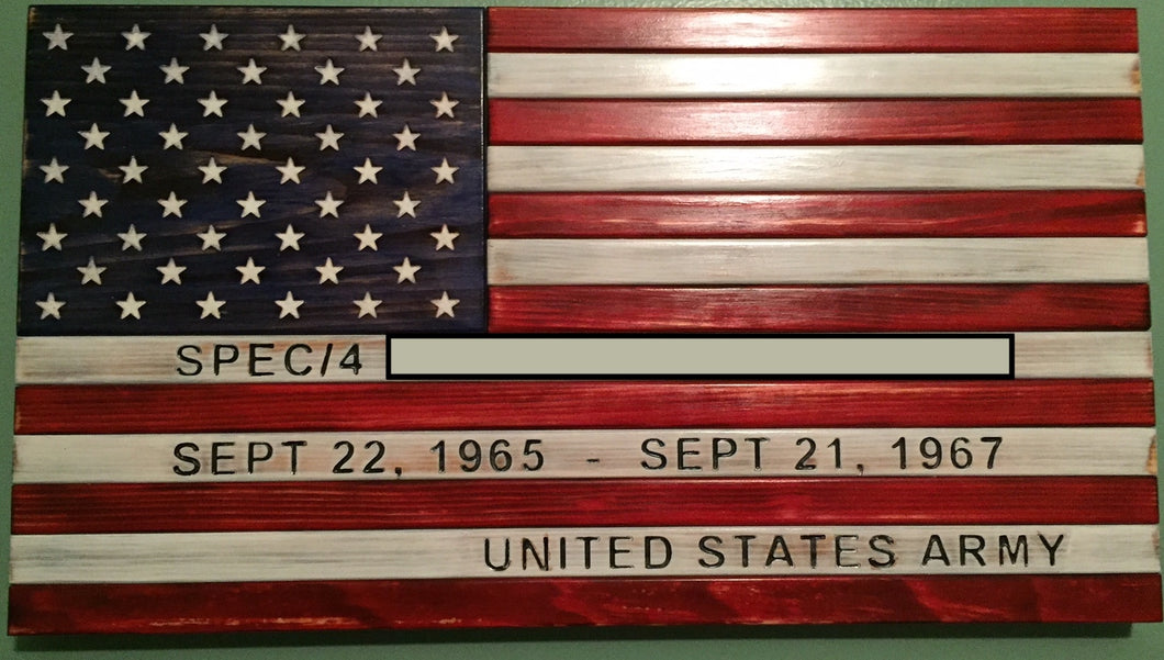 Custom Engraved American Flag - Downing Wood Works