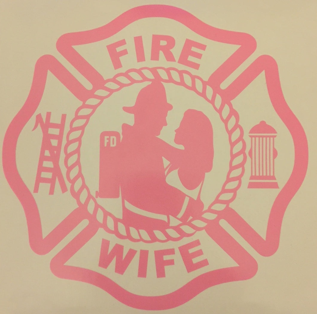 Fire Wife Maltese Cross Sticker - Downing Wood Works