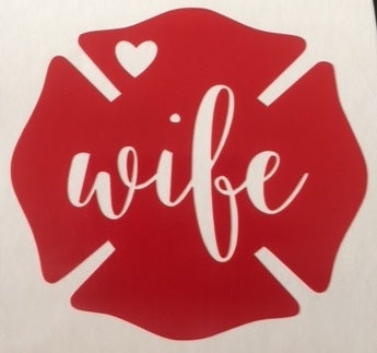 Fire Wife Maltese Cross with Heart Sticker - Downing Wood Works
