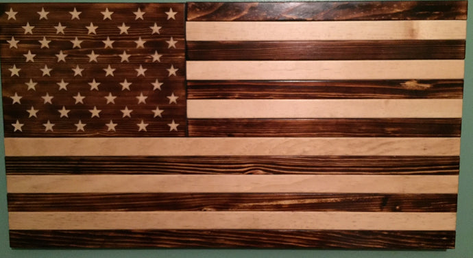 Charred American Flag - Downing Wood Works