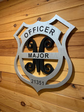 Load image into Gallery viewer, Police Badge with Vine Letter and Last Name - Downing Wood Works
