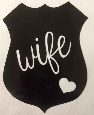 Police Wife Badge with heart - Downing Wood Works