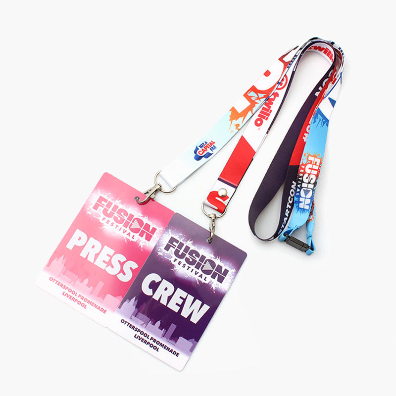 Nice polyester ID card badge holder neck printed lanyards custom with logo
