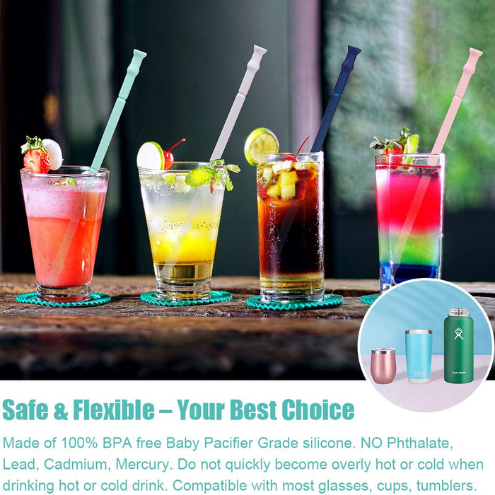 Wholesale Reusable Drinking Straws Silicone Folding Straws with Cases and Brush