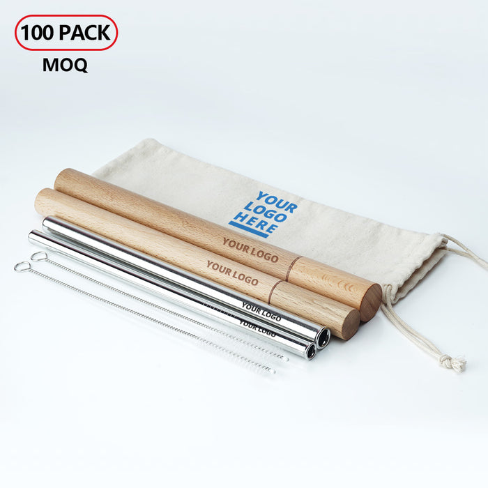 laser craving stainless steel straws with wooden case wholesale