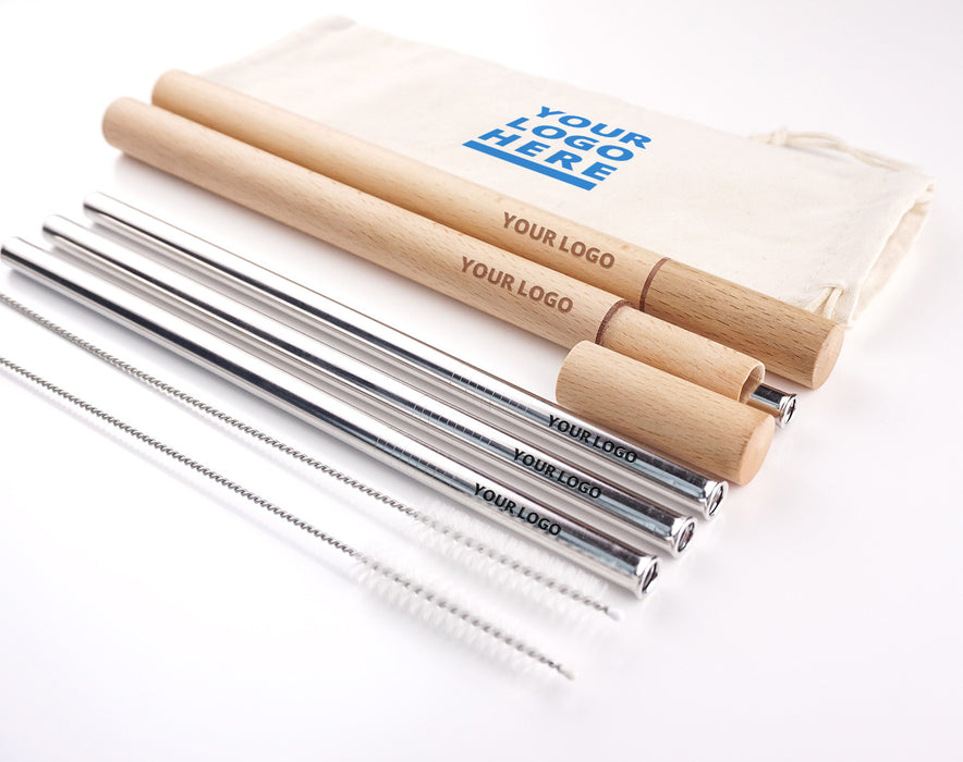 stainless steel straws with wooden travelling case