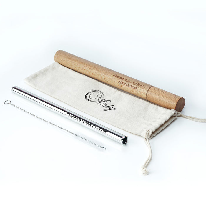 custom logo stainless steel straws with wooden case