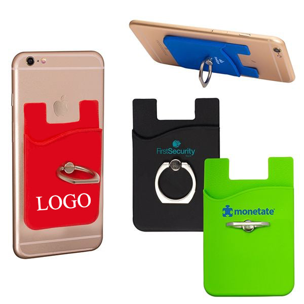 Promotional Phone Wallet with Ring Stand Custom Logo Silicone Phone Card Holder with Stand