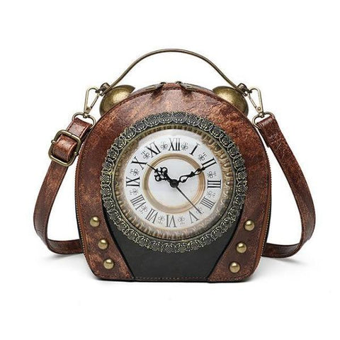 SAC A MAIN MARRON FONCE HORLOGE VINTAGE RETRO REEL MOUVEMENT