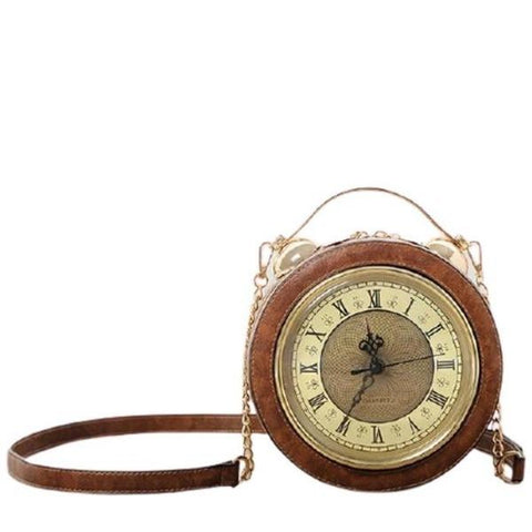 SAC A MAIN MARRON MONTRE VINTAGE RETRO REEL MOUVEMENT