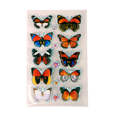 10 sparkly 3D butterfly stickers in colors of red, orange, brown and white.