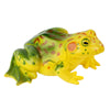 Yellow and green, spotted, adult frog of the frog life cycle figurines set.