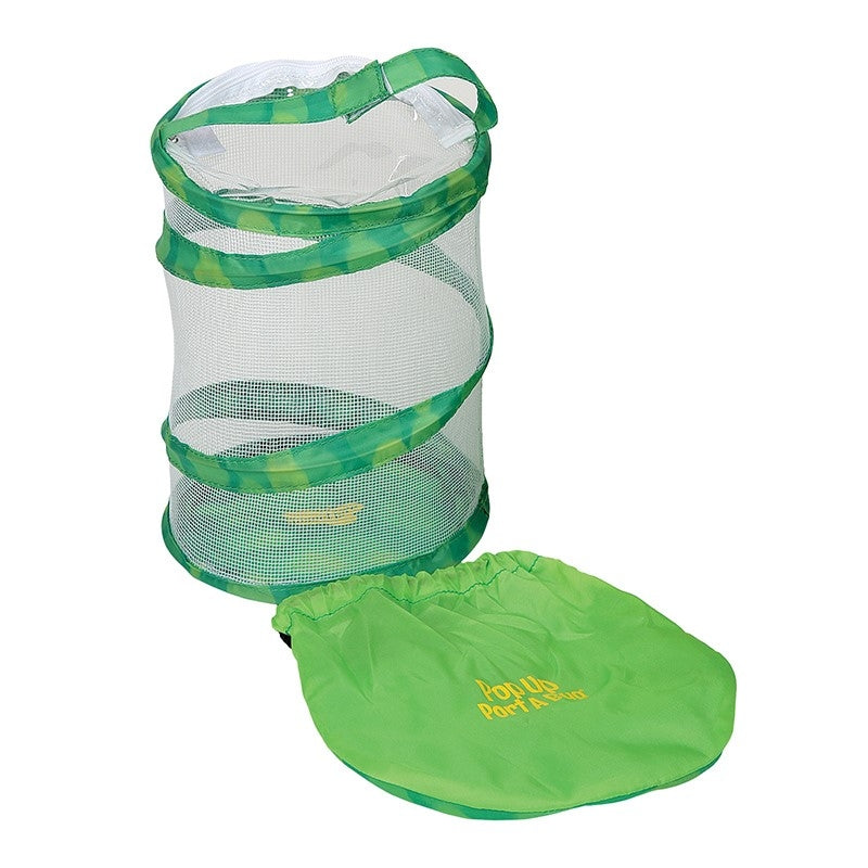 Small, 8 inch tall, green, pop-up, mesh habitat with green storage case. Learning tool.