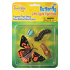 Package featuring four butterfly life cycle figurines, consisting of egg, caterpillar, chrysalis, and adult butterfly