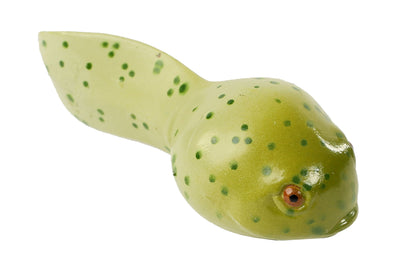 Green, spotted tadpole stage of the frog life cycle figurines set.