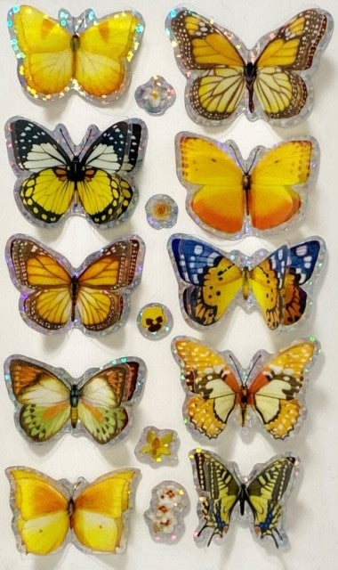 10 sparkling 3D butterfly stickers in shades of yellow, orange, some white, and brown.