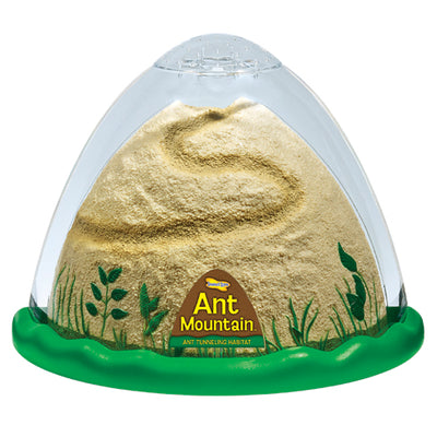 Front view of domed ant habitat with green, escape-proof base and plastic brown mountainous landscape for ants to explore.