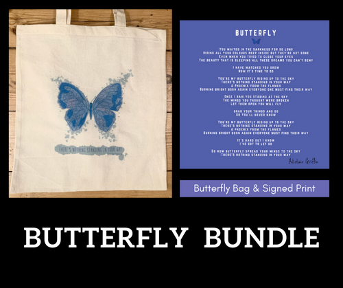 Butterfly Bag and Signed Lyric Print