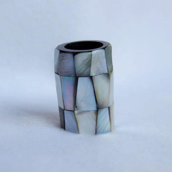 "Black-Mother-of-Pearl-Scarf-Tube-2""-Scarf-Ring"