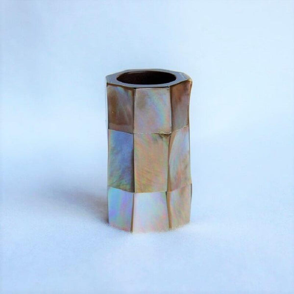 "Brown-Mother-of-Pearl-Scarf-Tube-2""-Scarf-Ring"