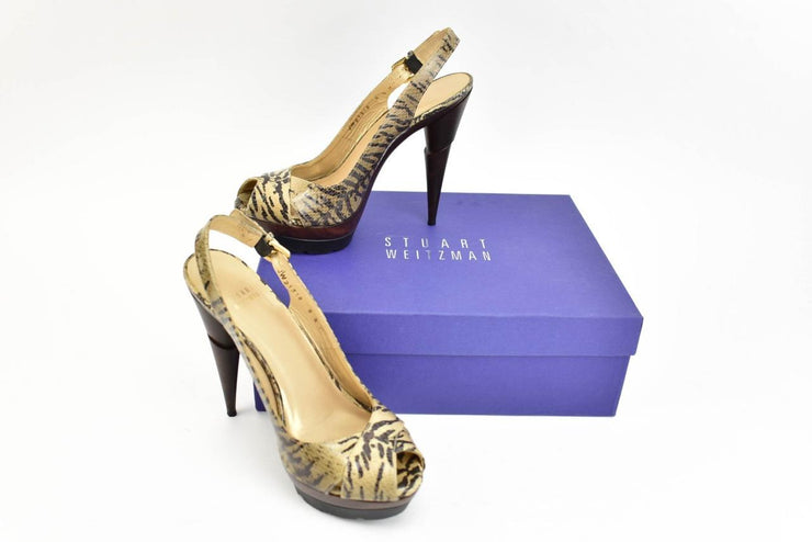 "STUART WEITZMAN ""Wessex"": Beige Leather & ""Animal Print"" Platform Heels Sz: 8.5M"